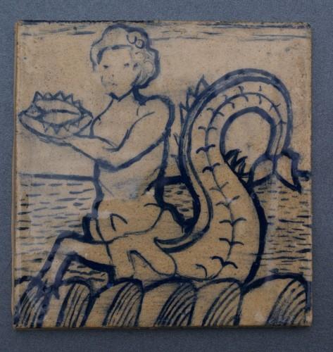 kafel z potworem morskim, wzór z 1610 r. Delft